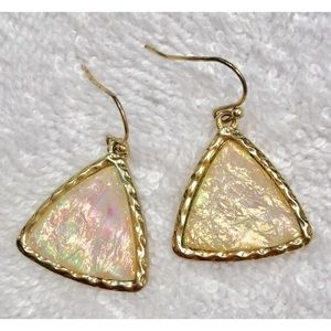 Gold and White Rainbow Reflecting Earrings